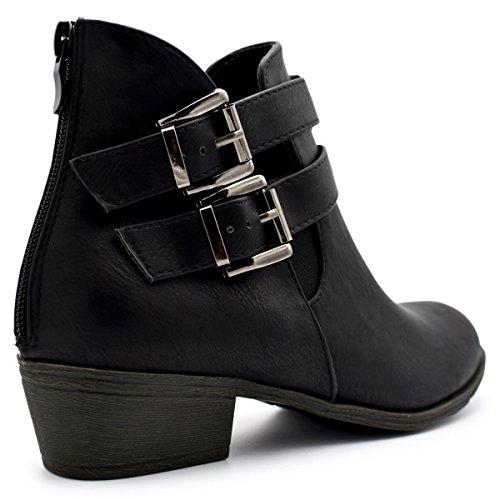 Top Moda Frauen Side Zip High Block Heel Ankle Booties Schwarz 5 *