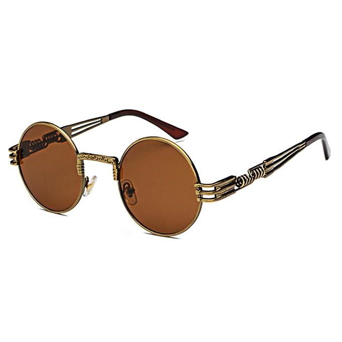 Highdas Metall Sonnenbrillen Damen Herren Vintage Retro Runde Sunglass Steampunk Beschichtung Glaser C11 fXijdD