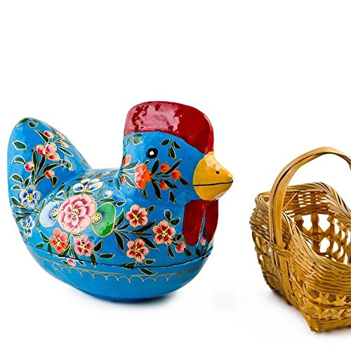 BestPysanky Iowa Blue Rooster Decorative Fillable Wooden Easter Figurine 5 Inches x 4 Inches