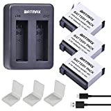 Batmax 1500mAh Rechargeable AHDBT-401 Battery (3-Pack) and Rapid Dual USB Charger for Gopro AHDBT-401 and Gopro Hero 4 Camera Batterries Silver&Black
