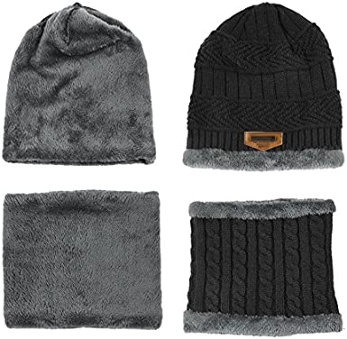 Circle Scarf Kids Warm Fleece Lning Hat and Scarf Set 6-14 Years CoKate Boys Girls Knitted Beanie Hat