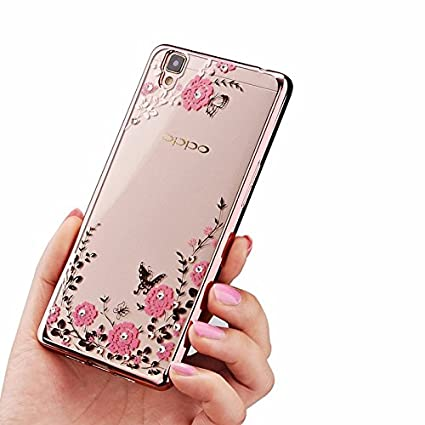 new styles 5c99a 1aa4d Oppo A37 ( Rose Pink Color ) Shockproof Silicone Soft Tpu Transparent  Shining Flower Stylish Case With Sparkle Crystals Back Cover Case Brand  Dustin