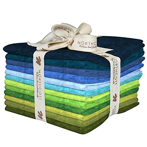 Fabric Northcott Flannel (Toscana Flannel 12 Fat Quarters Cool Colors Northcott Cotton Fabric TOSF12-3)