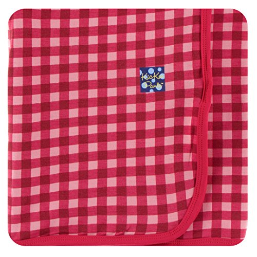 Kickee Pants Little Girls Print Swaddling Blanket - Flag Red Gingham, One -