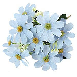 Tutuziyyy 2 Bouquets Artificial Chrysanthemum Flowers Fake Garden Cosmos for Memorial Day, Cemetery, Home Office, Wedding, Restaurant Décor, Blue 117