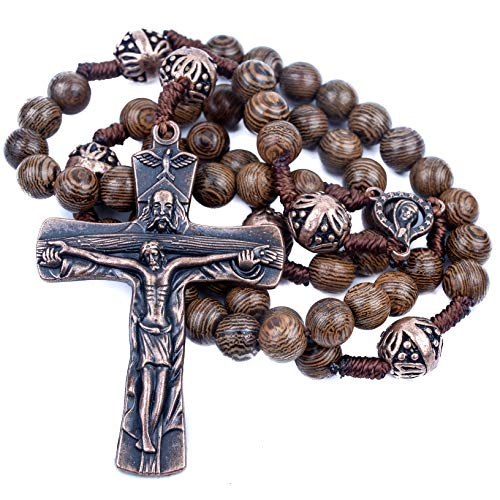 (Nazareth Store Our Father Wood Rosary Beads Necklace with Beautiful Large Antique Cross Crucifix)