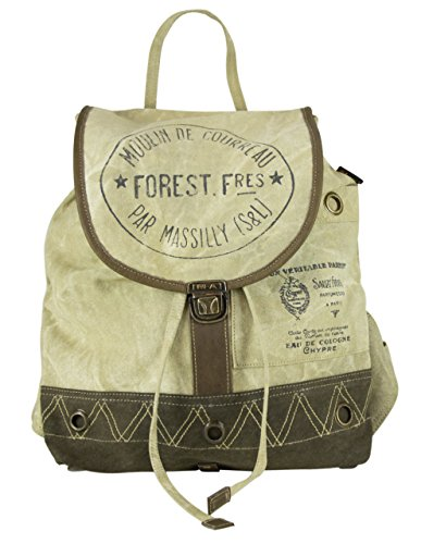 Leather 51713 Canvas Shoulder Vintage Backpack Bag Handbag Sunsa Women's Of With pxqznzH