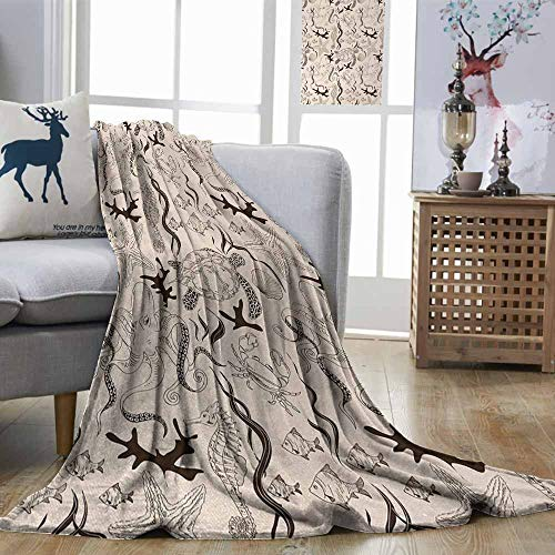 Zmstroy Printing Blanket Beige Contemporary Illustration of Marine Animals in Retro Style Octopus Crab Seahorse Art Beige Brown Lightweight E x tra Big W57 xL74]()