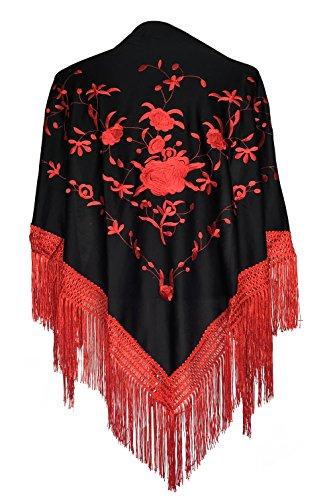 Spanish Dance Flamenco - La Senorita Spanish Flamenco Dance Shawl black with red flowers and fringes