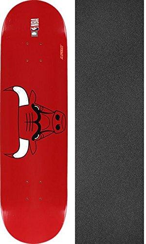 Aluminati Skateboards NBA Chicago Bulls Woody Skateboard Deck - 8'' x 32'' with Black Magic Griptape - Bundle of 2 Items by Aluminati Skateboards