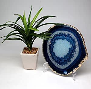 "The Royal Gift Shop: Authentic Brazilian Agate Slice With 24K Gold Plated Rim -Blue (5""-6"") Protective rubber bumpers."