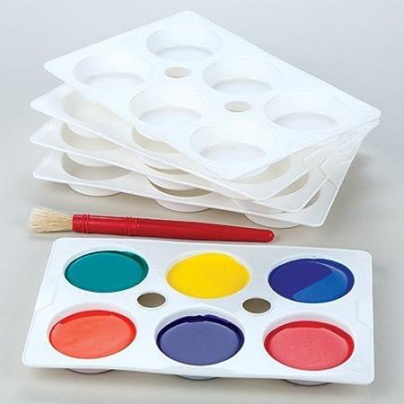 Baker Ross Paletas de plástico de 6 pocillos para pintura (Pack de ...
