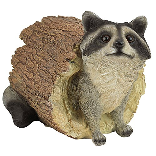 (Design Toscano Bandit the Raccoon Garden Animal Statue, 10 Inch, Polyresin, Full Color)