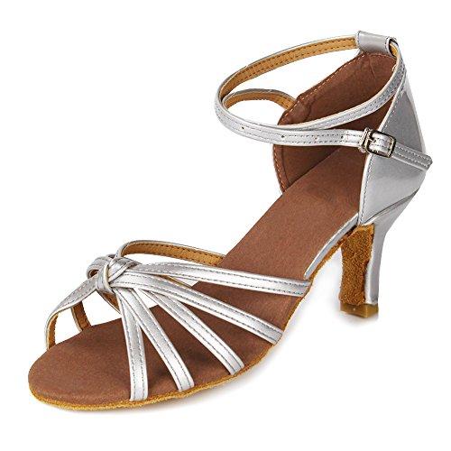 Schuhe 217 Satin D7 Ballsaal Dance Damen 7cm Silber Tanzschuhe Modell HROYL Latin qFnzIHZxxw