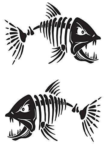 "x2 Fish Fishing Skeleton Bones -Regular and Reversed Skull Decal Sticker Vinyl FOR Auto Car Boat Bumper Window 6.5"" X 10"" (2Black)"