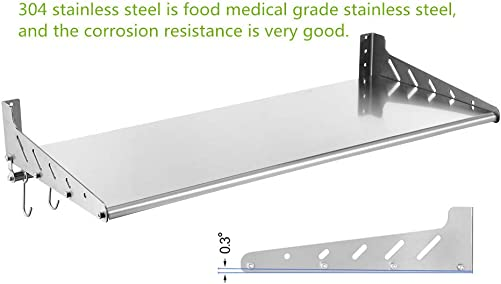 Stainless Steel Wall Mount Shelf with Hooks 304 Kitchen Commercial Shelf Rack Restaurant Bar Multifunctional Storage Shelf 13.78, 31.5