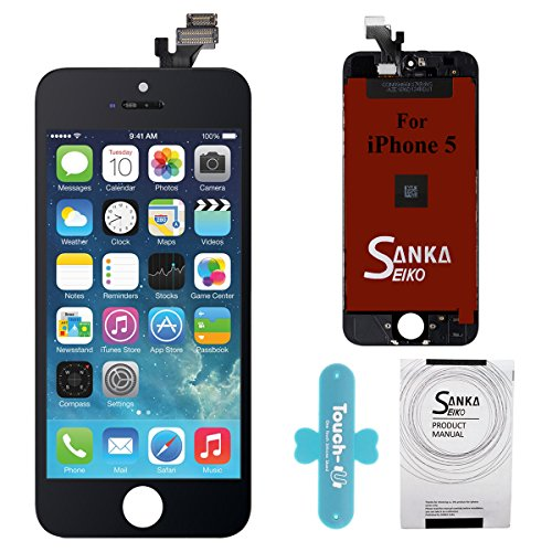 (SANKA iPhone 5 LCD Screen Replacement, Digitizer Display Retina Touch Screen Glass Frame Assembly for iPhone 5 - Black (Tools Included))