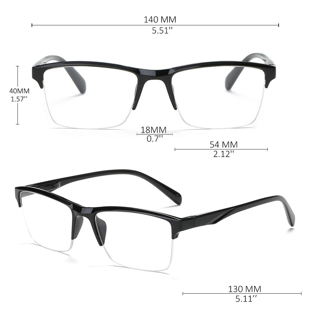 KOOSUFA Lesebrille Herren Damen Halbrahmen Brille Halbrandbrille Lesehilfe Sehhilfe federscharnier Schwarz 0.25 0.5 0.75 1.0 1.25 1.5 1.75 2.0 2.25 2.5 2.75 3.0 3.25 3.5 3.75 4.0