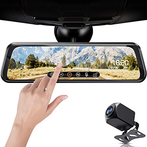 FOOKOO Backup Camera 10″ Mirror Dash Cam, Dash Cam Front and Rear Full Touch Screen Video Streaming Rear View Mirror Camera, Night Vision Waterproof 1080P Rear Camera …
