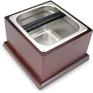 GIGIEroch Contenedor de Caja de café para café molido Base de Madera sólida del café de Knock Caja de Acero Inoxidable rectificado Caja de desechos de Tierra Cubo posos de café Cubo