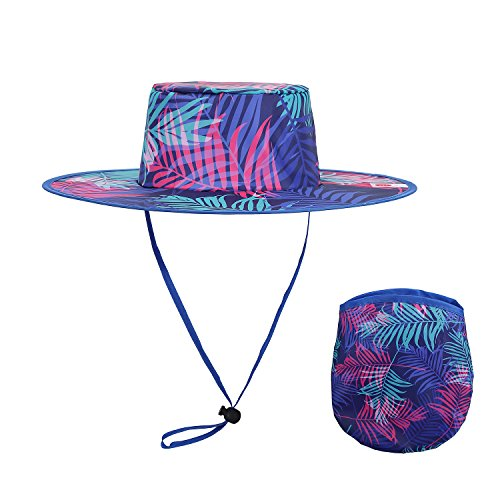 EEN There Brand Colorful Palm Tree Foldable Hat & Carry Pouc