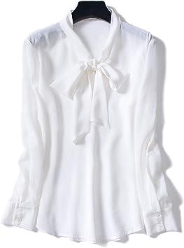 XCXDX Camisa Blanca De Lazo para Mujer, Blusa De Seda De Manga Larga, Top De Dama De Oficina, Ropa De Abrigo De Primavera: Amazon.es: Deportes y aire libre