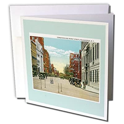 BLN Vintage US Cities and States Postcards - Corner Main and Market Streets, Poughkeepsie, New York Street Scene - Greeting Cards