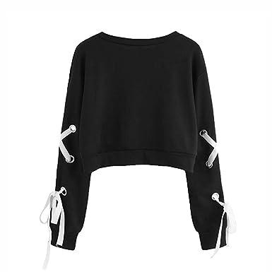 b92e501baf121 LuckyGirls Mode Femmes Nouveau Automne Sweat-Shirt Court Femme Pull Manche