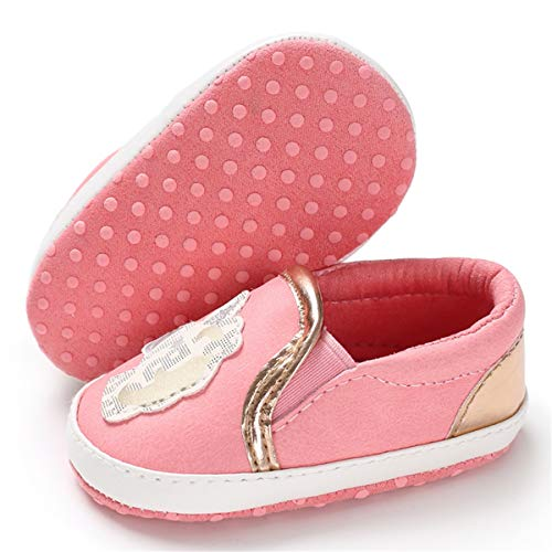(BENHERO Infant Baby Boys Girls Canvas Shoes Slip On Soft Sole Moccasins Toddler First Walker Sneaker Newborn Crib Shoes(0-18 Months),6-12 Months M US Infant,H-Pink)