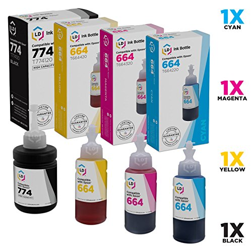 LD Compatible Ink Bottle Replacements for Epson 774 & Epson 664 (1 Black, 1 Cyan, 1 Magenta, 1 Yellow, 4-Pack)