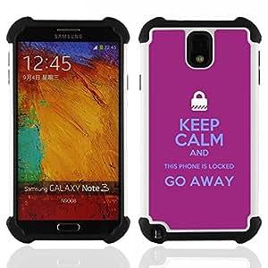 """SAMSUNG Galaxy Note 3 III / N9000 / N9005 - 3 en 1 impreso colorido de Altas Prestaciones PC Funda chaqueta Negro cubierta gel silicona suave (Cerrado Manos Candado púrpura texto"""")"""