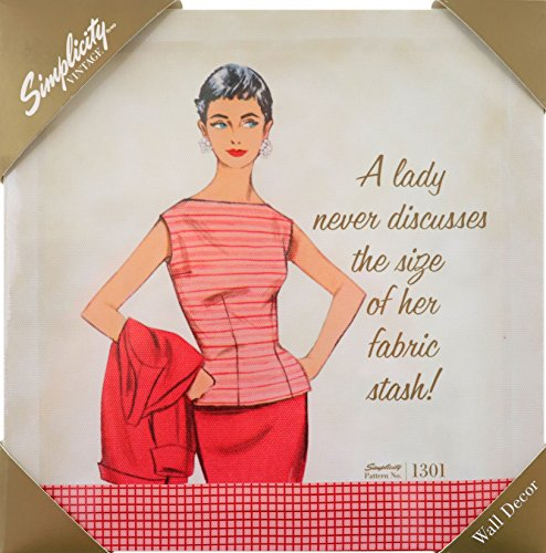 Simplicity Vintage Fashion 1950's ''A Lady Never Discusses'' Small Home Wall Décor Art, 9.6'' x 9.6'' ()