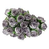 50pcs 3cm Artificial Roses Flower Heads Wedding Decoration Grey