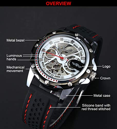 AMPM24 Men's Skeleton Automatic Mechanical Black Silicone Band Sport Wrist Watch PMW082