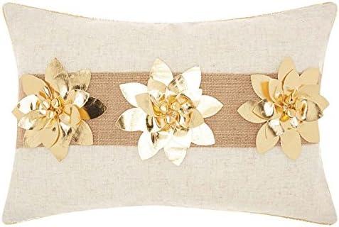 Nourison Mina Victory L1439 Three Poinsettia Throw Pillow, 12 x 18 , Gold