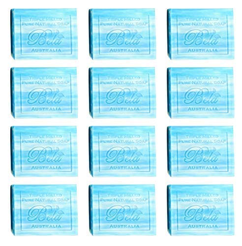 Bela Pure Natural Soaps Triple French Milled Moisturizing Natural Soap Bars, Sulfate Free - Ocean Beach - Made in Australia - Perfect Mothers Day, Anniversary, or Birthday Gift - 12 pack -3.5 oz each