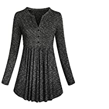 Alixyz Clearance Womens Long Sleeve Loose Fit Swing Pleated Tunic Tops Basic T Shirt