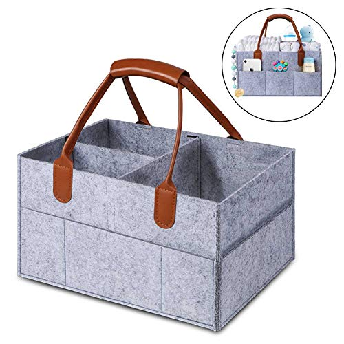 MANLEHOM Baby Diaper Caddy Organizer, Removable Dividers Nursery Storage Bin, Felt Collapsible Portable Basket Bag with PU Leather Handle, Good for Closet Bedroom Bathroom Car Travel in Grey