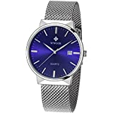 WWOOR Men's Analog Quartz Watch Waterproof Sport Steel Mesh Strap Thin Wristwatches Auto Date Blue