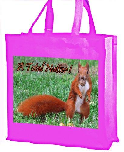 Nutter totale, scoiattolo rosso, Borsa per la spesa, in cotone, colore: Rosa