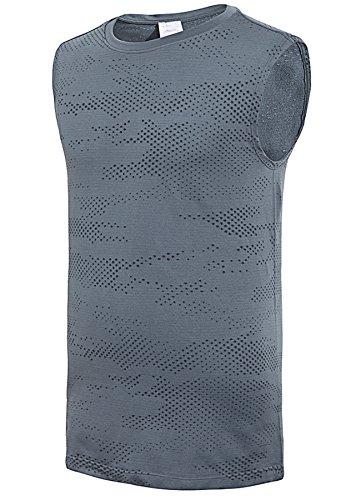 (PULI Men's Sleeveless T Shirts Muscle Tank Top Athletic Performance Shirts Seamless Quick Dry Vest,Dark Grey,L)
