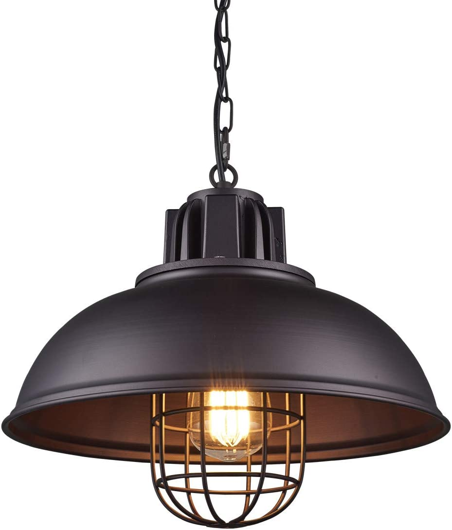 Light Industrial Metal Pendant Lighting, Oil Rubbed Bronze Finish Pendant,Dimmable LED Bulb Included,W13 H 67.3 Inches