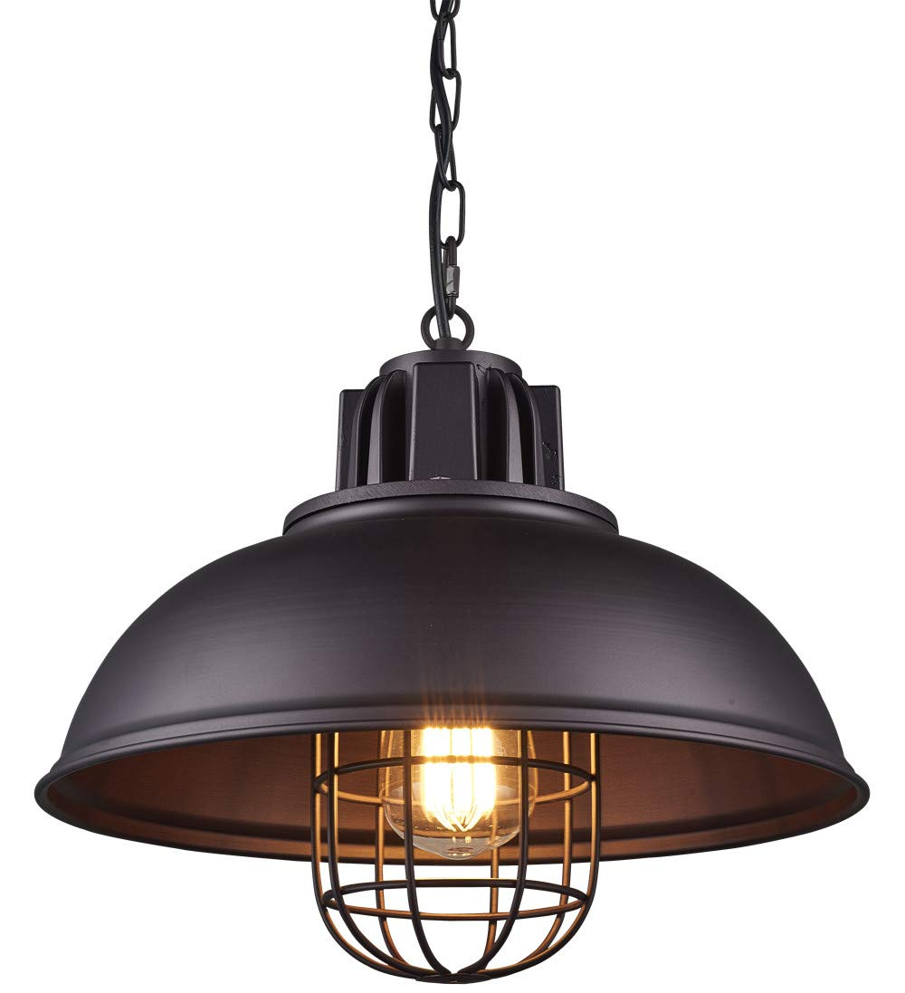 Light Industrial Metal Pendant Lighting, Oil Rubbed Bronze Finish Pendant,Dimmable LED Bulb Included,W13×H 67.3 Inches