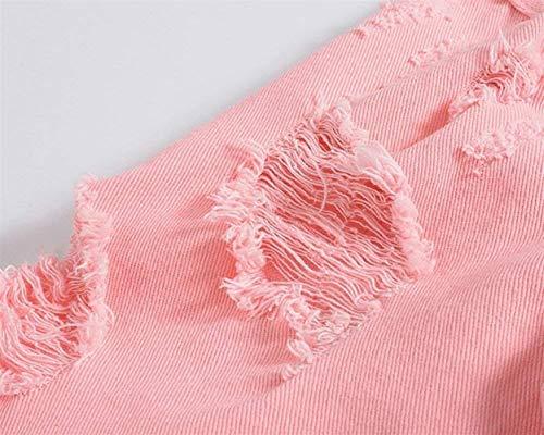Cappotto Cappotto Abbigliamento Maniche Giacca Denim Giacca Strappati in in in Jeans Uomo A da Denim retrò Autunnale Lunghe Distrutto Giacca in Capispalla di Pink Uwqg860
