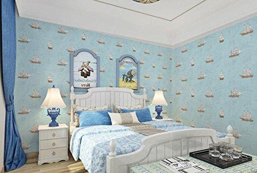 MOMO Velero Vintage Dirigido a Niños 'S Cartoon World Chart Office Wallpaper Papel Pintado Dormitorio,A44,53 * 1000 cm