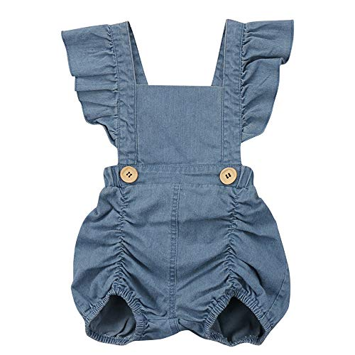 Denim Jean Romper - KOROTUS COLLECTION Baby Girl Ruffle Romper Soft Jeans Jumpsuit One Piece Newborn Denim Dress for Toddler Infant Girls