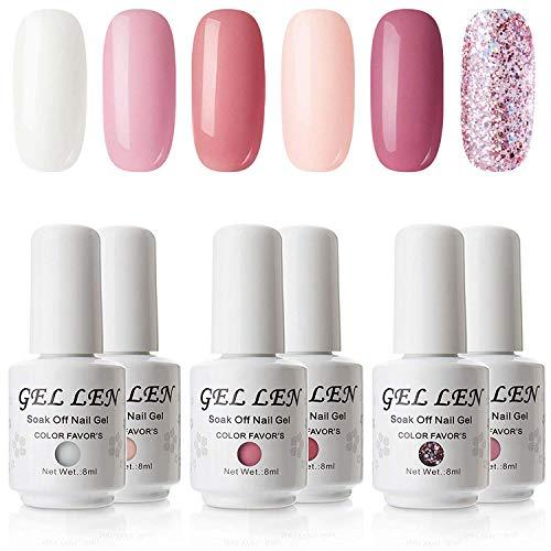 Gellen UV LED Gel Nail Polish Kit Coral Peach Pink Shade- Selected 6 Colors Nail Gel Set