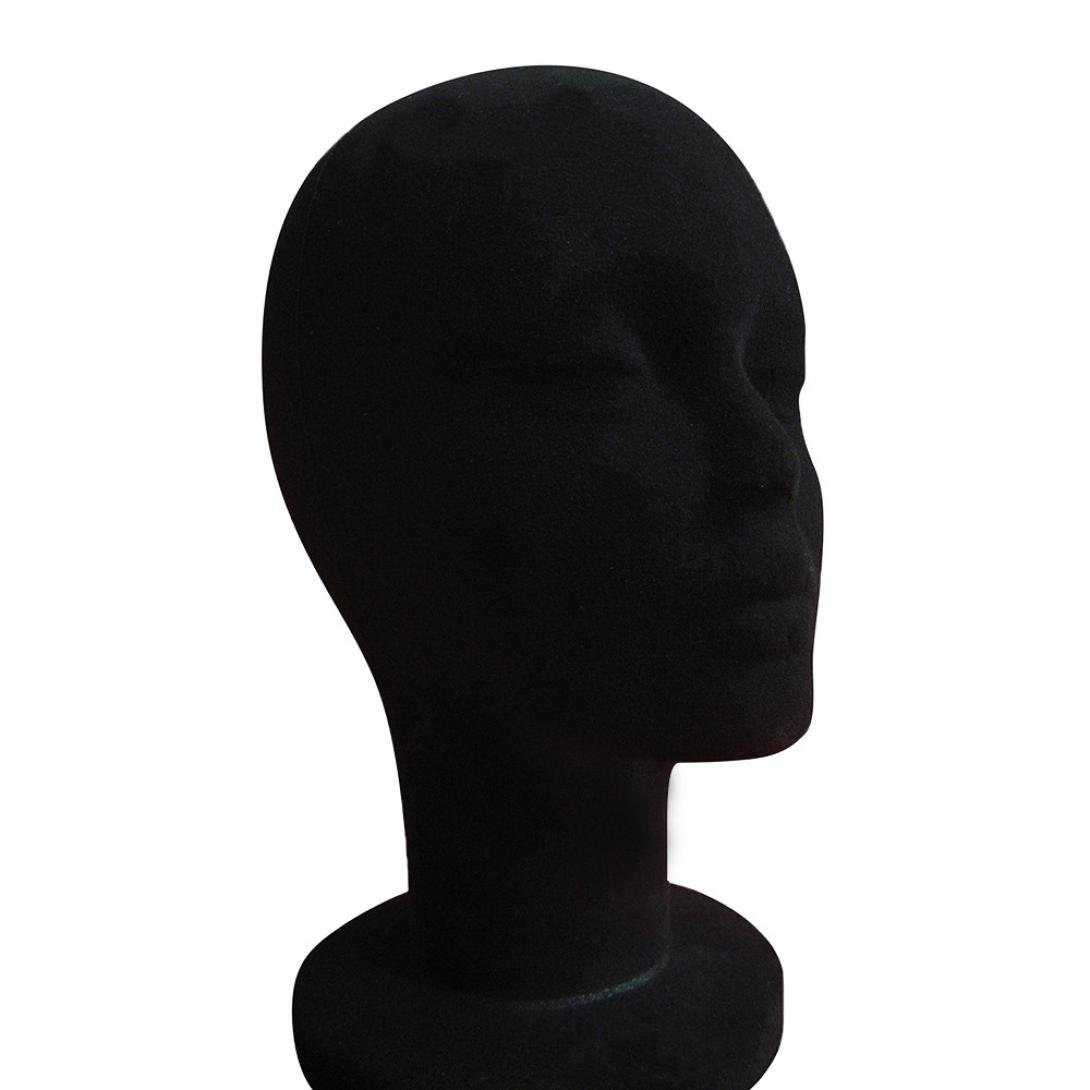 Dummy Model Heads, Transer® Female Styrofoam Foam Flocking Head Model Wig Glasses Display Stand Black Model Display Dummy Heads