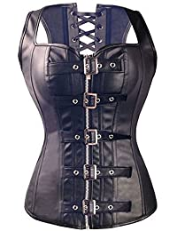 Kiwi-Rata Women's Punk Rock Faux Leather Buckle-up Corset Bustier Basque with G-string