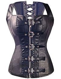 KIWI RATA Women's Faux Leather Steampunk Gothic Buckle Corset Bustier Top